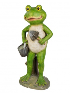 Frosch Kröte Unke Gecko Lurch Garten Deko Tier Figur Skulptur Eimer Schaufel