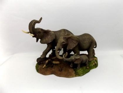 Elefant mit Baby Skulptur Elefanten Familie Deko Garten Tier Figur Afrika Statue