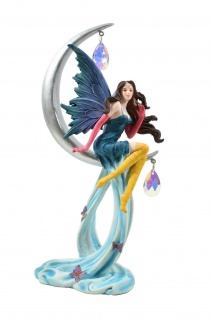Elfe Fee Mond Halbmond Blumen Fairy Deko Figur Mystik Fantasy Skulptur Statue