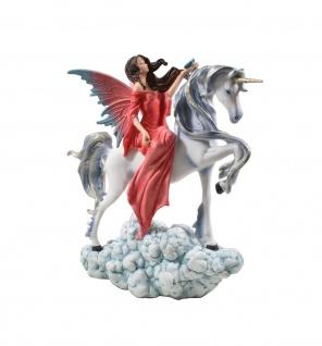 Elfe Fee Einhorn Blumen Fairy Deko Figur Mystik Fantasy Skulptur Statue Pferd