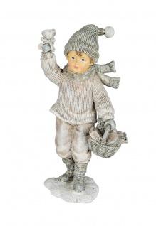 Winterkind Junge Glocke Nostalgie Winter Deko Kinder Skulptur Figur Mädchen