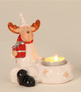 Elch mit Teelichthalter Hirsch Rentier Keramik Deko Tier Figur Weihnachtsdeko