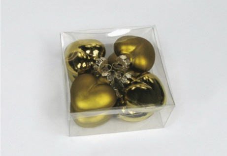 8 Herz Christbaumkugeln Weihnachtskugeln Kugeln gold Weihnachtsdeko Glas Deko