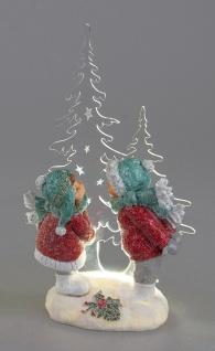 Deko Winterkinder Paar Acryl Tanne LED + Timer Mädchen Junge Kind Skulptur Figur