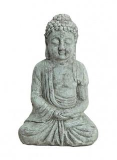 Buddha Keramik Groß Feng Shui Deko Garten Figur Skulptur Statue antik look grau