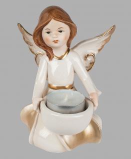 Engel Teelichthalter Porzellan Schutzengel Weihnachts Deko Figur Skulptur Statue