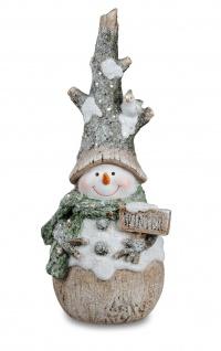 Deko Schneemann Winter Weihnachts Figur mit Schal Vogel Weihnachtsdeko Skulptur