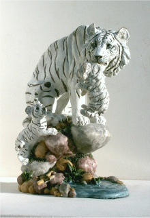Tiger weiß Katze Baby Kind Tierfigur Skulptur Deko Tier Figur Statue Afrika