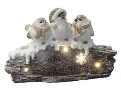 3 Vögel auf AST Baum LED beleuchtet Skulptur Deko Spatz Vogel Gruppe Figur Eule