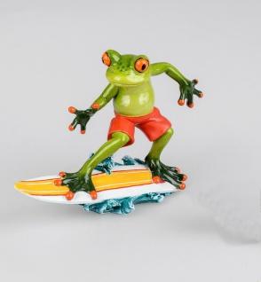 Frosch Surfer Surfbrett Kröte Gecko Lurch Deko Tier Figur Skulptur Froschkönig