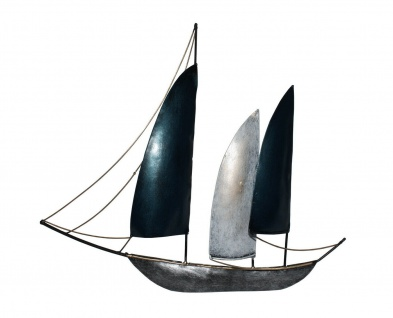 Wanddeko Schiff Metall Segelboot Maritim Segel Boot Deko Hänger Skulptur Figur