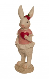 Deko Hase Hasen Frau Osterhase Oster Figur Herz Ei Skulptur Kaninchen Statue