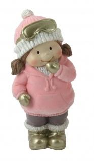 Winterkind Deko Kind Mädchen Junge Weihnachts Figur Skibrille Winterkinder Mütze
