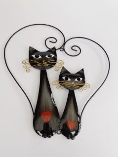 Katze Wanddeko Katzen Paar Herz Metall Deko Garten Tier Figur Skulptur Kater