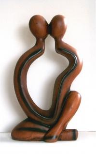 Abstrakte Figur Skulptur Deko Statue Keramik Erotik Figuren Paar Liebe Kuss Herz