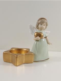 Engel Dekoengel Herz Teelichthalter Porzellan Schutzengel Deko Figur Skulptur