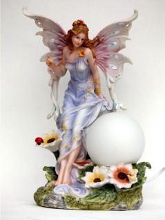 Elfe Fee Blumen Fairy Deko Figur mit Lampe Tisch Leuchte Mystik Fantasy Skulptur