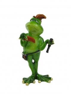 Frosch Friseur Kröte Lurch Deko Tier Figur Skulptur Froschkönig Laubfrosch Gecko