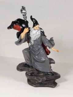 Merlin mit Stab Zauberer Magier Gothic Mystik Fantasy Deko Figur Skulptur Hexe