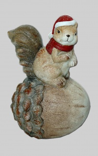 Eichhörnchen auf Eichel Nuss Deko Tier Figur Weihnachts Skulptur Eichkatzerl
