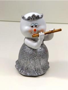 Schneemann Musiker Flöte Diadem Deko Figur Weihnachts Skulptur Weihnachtsmann