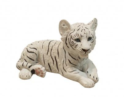 Tiger weiß Baby Kind Katze Tigerfigur Skulptur Deko Afrika Figur Statue Löwe