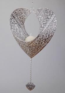 Teelichthalter Kerzenhalter Herz Antik silber Deko Fenster Hänger Metall m Kette