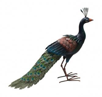 Pfau Metall Hühner Vogel Deko Garten Tier Figur Skulptur Statue Feder Huhn Hahn