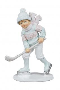 Winterkind Junge Schlittschuh Läufer Eishockey Spieler Deko Kind Skulptur Figur