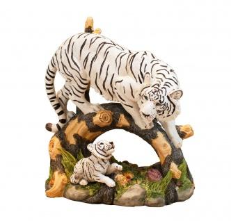 Tiger Katze weiß mit Baby Kind Skulptur Deko Afrika Tier Figur Statue Löwe