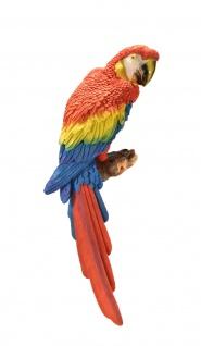 Papagei Wanddeko Wandbild Kakadu Sittich Deko Garten Vogel Figur Ara Skulptur