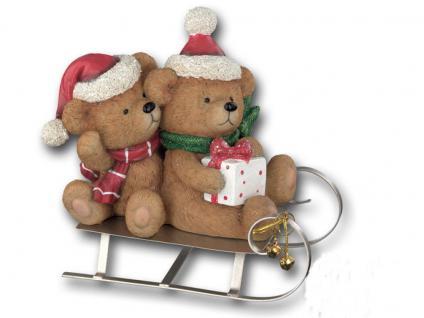 Bär 2 Bärchen auf Schlitten Teddybär Teddy Deko Tier Figur Weihnachts Artikel