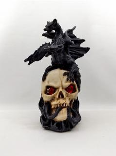 Gothic Deko Figur Drachen auf Totenkopf Skelett Sensemann Skull Reaper Horror