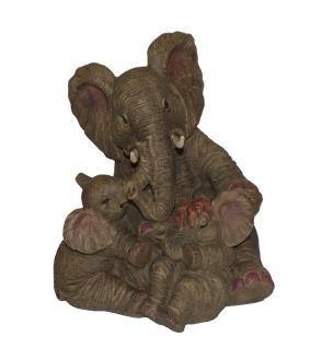 Elefant mit 2 Baby Kind Afrika Skulptur Elefanten Deko Garten Tier Figur Statue