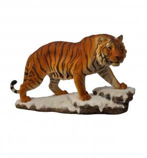 Tiger auf Platte Katze Tigerfigur Skulptur Deko Tier Figur Statue abstrakt Löwe