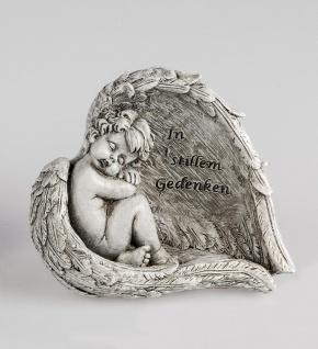 Grabschmuck Grabstein Engel im Flügel Gedenkstein Spruch Grab Deko Garten Figur