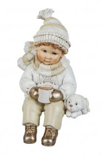 Winterkind Junge mit Hund Kantenhocker Kantensitzer Deko Kind Skulptur Figur