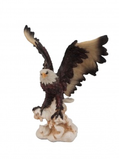 Weißkopf Adler Vogel Eagle Seeadler Deko Garten Tier Figur Raubvogel Stein Fels