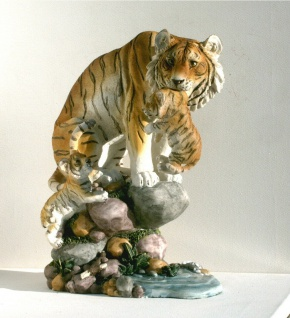 Tiger Katze Baby Kind Tierfigur Skulptur Deko Tier Figur Statue Löwe Afrika