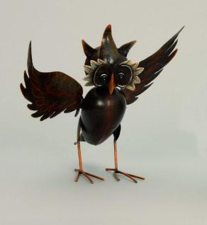Eule Uhu Kauz Wackelkopf Metall Deko Tier Vogel Figur Skulptur Gartenfigur Eulen