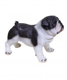 Hundefigur Deko Figur Mops Boxer Bulldogge Garten Welpen Skulptur lebensecht