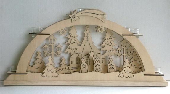 Teelichthalter als Schwibbogen Stimmungsleuchter Fensterbild Holz Weihnachtsdeko