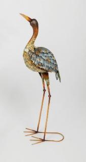 Reiher Kranich Fischreiher Metall Vogel Deko Garten Teich Fisch Figur Teichfigur