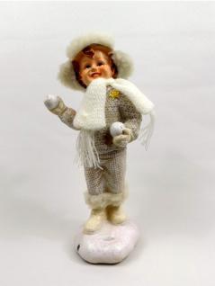 Winterkinder Winterkind Mädchen Junge Weihnachts Deko Kind Figur Teddy Bär Ball