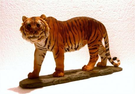 Tiger auf Platte Katze Tigerfigur Skulptur Deko Tier Figur Statue Löwe Leopard