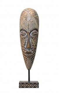 Deko Maske auf Sockel Afrika Ethno Style Figur Skulptur Büste Kopf Relief