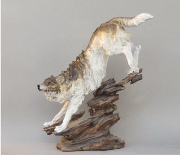 Wolf Tierfigur Hund Skulptur Deko Tier Wölfe Figur Statue Wildhund abstrakt Fels