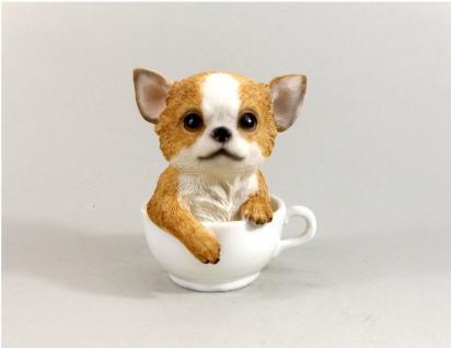 Chihuahua Hund in Tasse Skulptur Deko Garten Tier Figur Statue Chiwawa Terrier