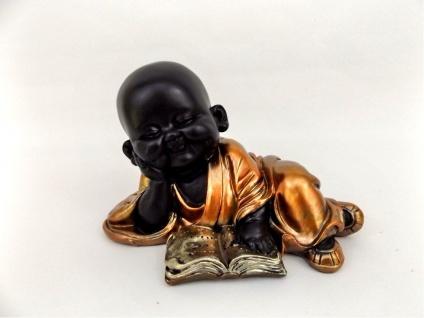 Buddha Mönch Buch Monk Bonze Deko Thai Figur Shaolin Skulptur Statue Feng Shui
