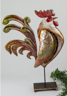 Hahn auf Sockel Huhn Henne Vogel Metall Muschel Garten Deko Tier Figur Artikel